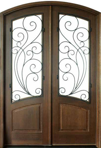 WDMA 64x96 Door (5ft4in by 8ft) Exterior Swing Mahogany Aberdeen Double Door/Arch Top w Redwood Iron 1