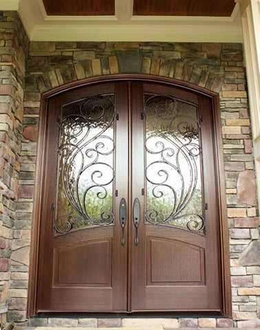 WDMA 64x96 Door (5ft4in by 8ft) Exterior Swing Mahogany Aberdeen Double Door/Arch Top w Redwood Iron 2