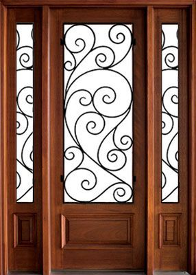 WDMA 64x96 Door (5ft4in by 8ft) Exterior Swing Mahogany Wakefield Single Door/2Sidelight w Burlwood Iron 1