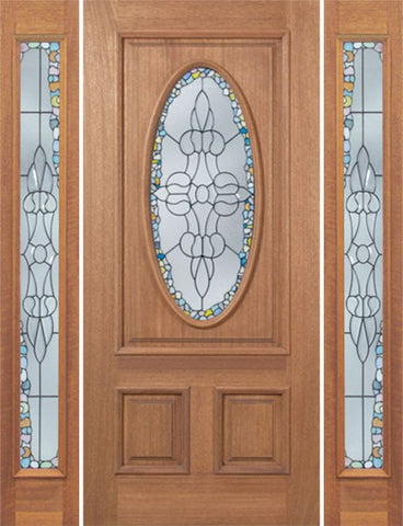 WDMA 66x80 Door (5ft6in by 6ft8in) Exterior Mahogany Maryvale Single Door/2side w/ Tiffany Glass 1