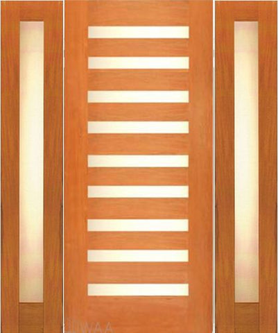 WDMA 66x80 Door (5ft6in by 6ft8in) Exterior Mahogany Contemporary Single Door with two Sidelights Laminated Glass 1