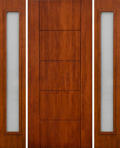 WDMA 66x80 Door (5ft6in by 6ft8in) Exterior Cherry Contemporary Lines Two Vertical Grooves Single Entry Door Sidelights 1