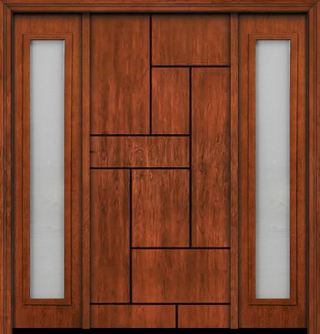 WDMA 66x80 Door (5ft6in by 6ft8in) Exterior Cherry Contemporary Lines Groove Single Entry Door Sidelights 1