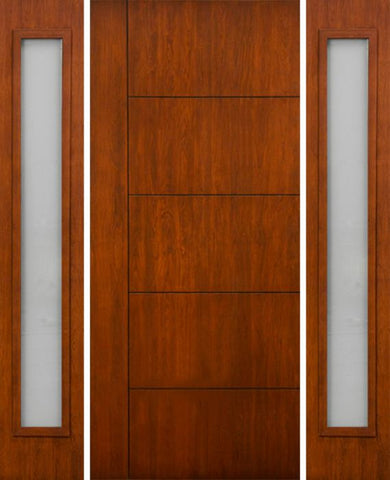 WDMA 66x80 Door (5ft6in by 6ft8in) Exterior Cherry Contemporary Lines Single Vertical Grooves Single Entry Door Sidelights 1