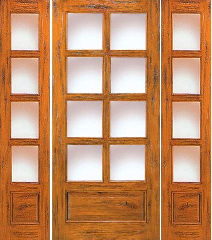 WDMA 66x80 Door (5ft6in by 6ft8in) Exterior Knotty Alder Entry Door with Two Sidelights 8-Lite 1-Panel 1