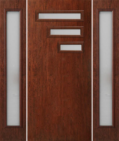WDMA 66x80 Door (5ft6in by 6ft8in) Exterior Cherry Contemporary Modern 3 Lite Single Entry Door Sidelights FC522 1