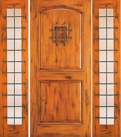 WDMA 66x80 Door (5ft6in by 6ft8in) Exterior Knotty Alder Door with Two Sidelights Entry Speakeasy 1