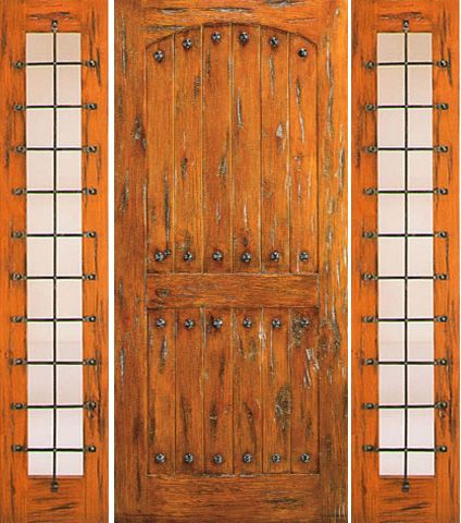 WDMA 66x80 Door (5ft6in by 6ft8in) Exterior Knotty Alder Prehung Door with Two Sidelights Clavos 1