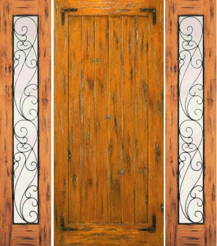 WDMA 66x80 Door (5ft6in by 6ft8in) Exterior Knotty Alder Door with Two Sidelights Prehung Straps 1