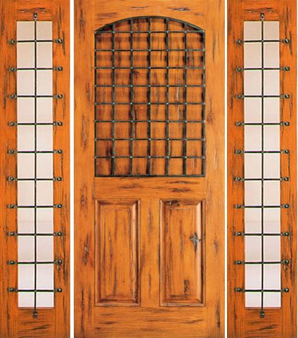WDMA 66x80 Door (5ft6in by 6ft8in) Exterior Knotty Alder Door with Two Sidelights 3-Panel 1