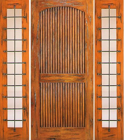WDMA 66x80 Door (5ft6in by 6ft8in) Exterior Knotty Alder Door with Two Sidelights Prehung 2 Panel 1