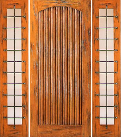 WDMA 66x80 Door (5ft6in by 6ft8in) Exterior Knotty Alder Prehung Door with Two Sidelights Tambour 1