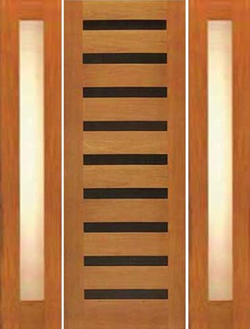 WDMA 66x80 Door (5ft6in by 6ft8in) Exterior Tropical Hardwood Single Door Two Sidelights Modern Horizontal Heavy Iron Inserts 1