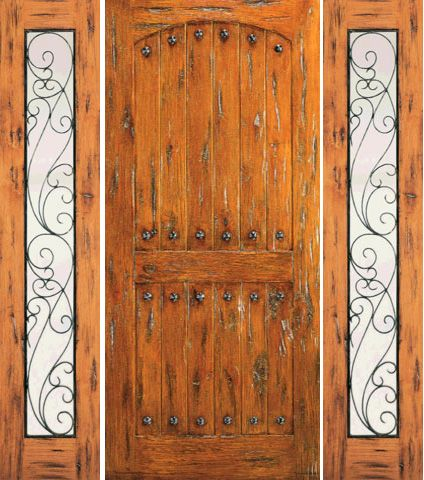 WDMA 66x80 Door (5ft6in by 6ft8in) Exterior Knotty Alder Door with Two Sidelights Prehung Clavos 1