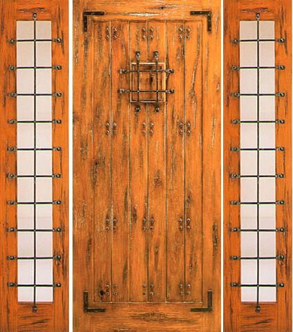 WDMA 66x80 Door (5ft6in by 6ft8in) Exterior Knotty Alder Door with Two Sidelights Prehung with Speakeasy 1