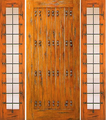 WDMA 66x80 Door (5ft6in by 6ft8in) Exterior Knotty Alder Door with Two Side lights Prehung Clavos 1