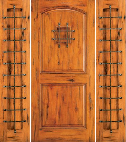 WDMA 66x80 Door (5ft6in by 6ft8in) Exterior Knotty Alder Entry Door with Two Sidelights Speakeasy 1