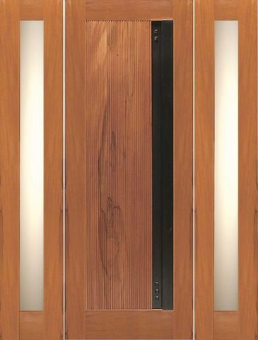 WDMA 66x80 Door (5ft6in by 6ft8in) Exterior Tropical Hardwood Single Door Two Side lights with Contemporary Heavy Iron Handle 1