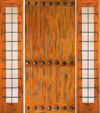 WDMA 66x80 Door (5ft6in by 6ft8in) Exterior Knotty Alder Door with Two Sidelights Entry Prehung Clavos 1