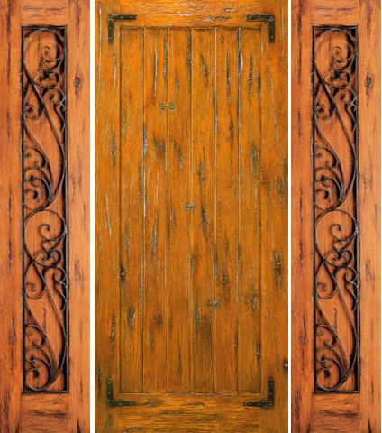 WDMA 66x80 Door (5ft6in by 6ft8in) Exterior Knotty Alder Prehung Door with Two Sidelights Straps 1