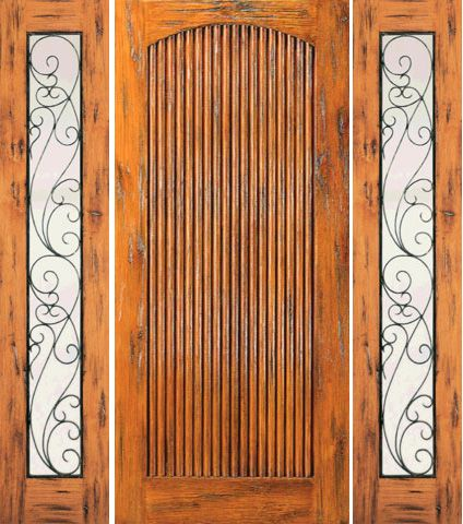 WDMA 66x80 Door (5ft6in by 6ft8in) Exterior Knotty Alder Door with Two Sidelights Prehung Tambour 1