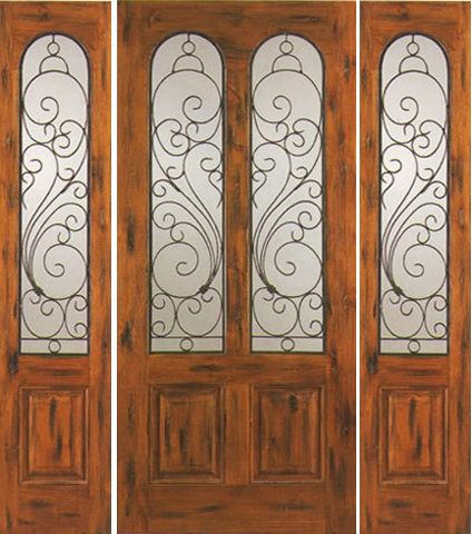 WDMA 66x80 Door (5ft6in by 6ft8in) Exterior Knotty Alder Entry Door with Two Sidelights Twin Lite 1
