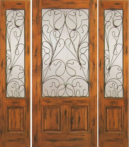 WDMA 66x80 Door (5ft6in by 6ft8in) Exterior Knotty Alder Door with Two Sidelights Entry 2/3 Lite 1