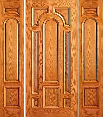 WDMA 66x80 Door (5ft6in by 6ft8in) Exterior Mahogany Pre-hung External 8 Panel Moulding Two Sidelights Door 1