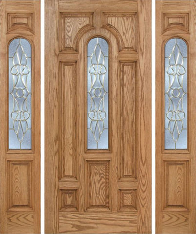 WDMA 66x80 Door (5ft6in by 6ft8in) Exterior Oak Carrick Single Door/2side w/ L Glass - 6ft8in Tall 1