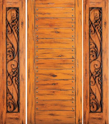 WDMA 66x80 Door (5ft6in by 6ft8in) Exterior Knotty Alder Door with Two Sidelights Flush 1