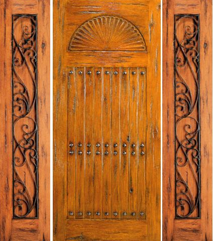 WDMA 66x80 Door (5ft6in by 6ft8in) Exterior Knotty Alder Prehung Door with Two Sidelights Carved 1