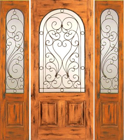 WDMA 66x80 Door (5ft6in by 6ft8in) Exterior Knotty Alder Door with Two Sidelights Entry Radius Lite 1