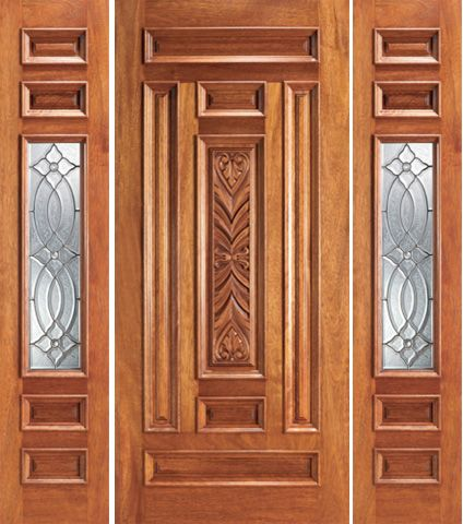 WDMA 66x80 Door (5ft6in by 6ft8in) Exterior Mahogany Prehung 1 Lite House Two Sidelights Door 1