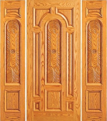 WDMA 66x80 Door (5ft6in by 6ft8in) Exterior Mahogany Prehung Entry 2 Sidelights Door Carved 8 Panel Moulding 1