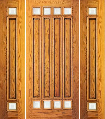 WDMA 66x80 Door (5ft6in by 6ft8in) Exterior Mahogany 8 Lite Entry Two Side lights Door 1