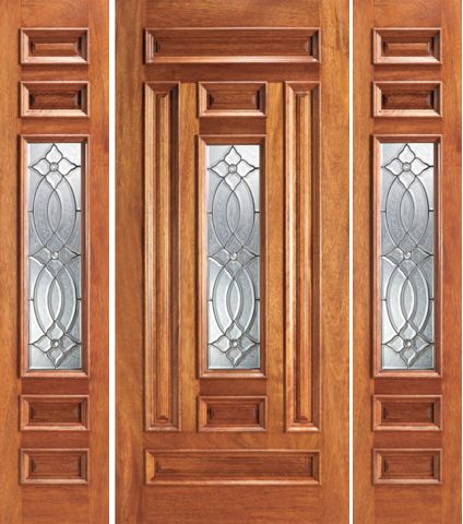WDMA 66x80 Door (5ft6in by 6ft8in) Exterior Mahogany Pre-hung Center Lite Entry Two Sidelights Door 1