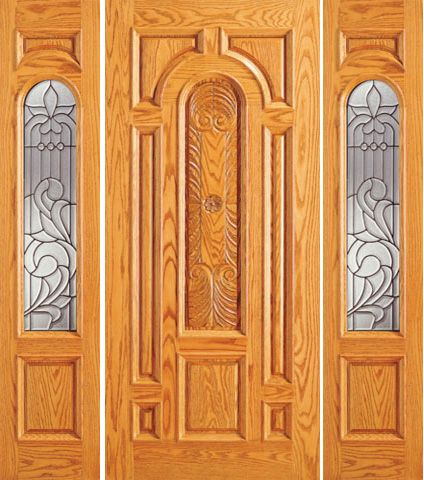 WDMA 66x80 Door (5ft6in by 6ft8in) Exterior Mahogany Prehung Arch Lite Entry Two Side lights Door 1