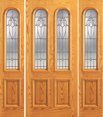 WDMA 66x80 Door (5ft6in by 6ft8in) Exterior Mahogany Arch Twin Lite Front Two Sidelight Glass Door 1