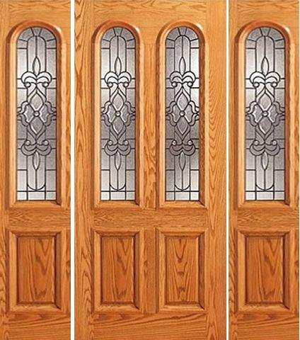 WDMA 66x80 Door (5ft6in by 6ft8in) Exterior Mahogany Arch Twin Lite Glass Door Two Sidelights 1