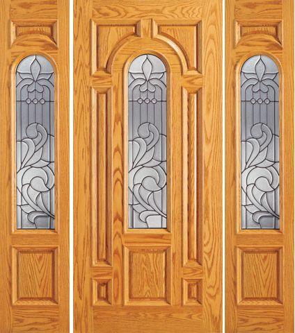 WDMA 66x80 Door (5ft6in by 6ft8in) Exterior Mahogany Entry Door with Two Sidelights Pre-hung Center Arch Lite 1