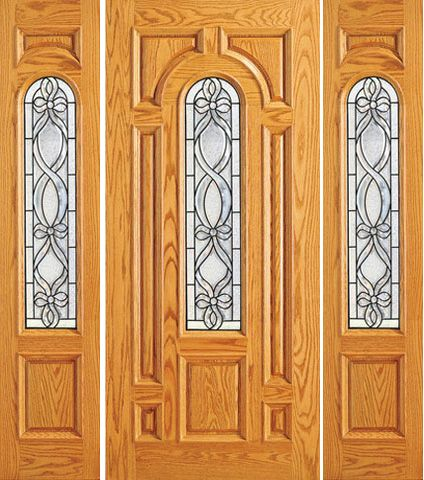 WDMA 66x80 Door (5ft6in by 6ft8in) Exterior Mahogany Pre-hung Center Arch Lite Two Sidelights Door 1