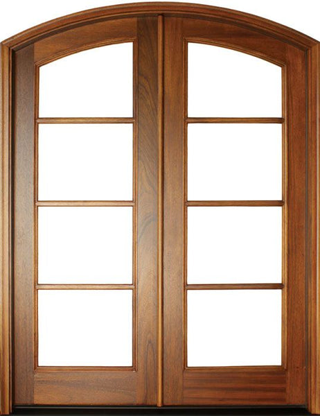 WDMA 68x78 Door (5ft8in by 6ft6in) Patio Mahogany Full View SDL 4 Lite Horizontal Bars Impact Double Door/Arch Top 1-3/4 Thick 1