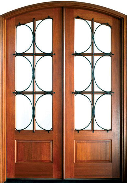 WDMA 68x78 Door (5ft8in by 6ft6in) French Mahogany Tiffany TDL/SDL Lancaster Double Door/Arch Top 1