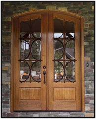 WDMA 68x78 Door (5ft8in by 6ft6in) French Mahogany Tiffany TDL/SDL Lancaster Double Door/Arch Top 2