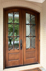 WDMA 68x78 Door (5ft8in by 6ft6in) French Mahogany Tiffany TDL/SDL Lancaster Double Door/Arch Top 3