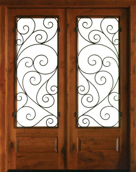 WDMA 68x78 Door (5ft8in by 6ft6in) Exterior Knotty Alder Oconee Burlwood Double Door 1