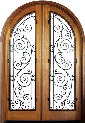 WDMA 68x78 Door (5ft8in by 6ft6in) Exterior Mahogany Charleston Ansonborough Double/Round Top 1