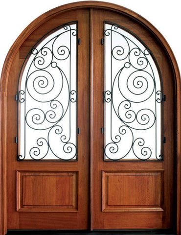 WDMA 68x78 Door (5ft8in by 6ft6in) Exterior Mahogany Pinehurst Ansonborough Double/Round Top 1