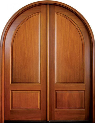 WDMA 68x78 Door (5ft8in by 6ft6in) Exterior Mahogany Pinehurst Solid Panel Double/Round Top 1