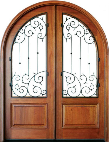 WDMA 68x78 Door (5ft8in by 6ft6in) Exterior Mahogany Pinehurst Septima Double/Round Top 1
